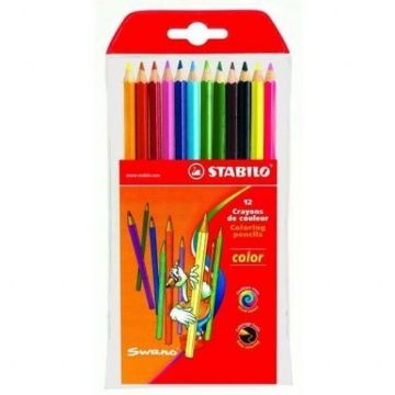 12 x STABILO SWANO COLOURING PENCILS - Includes Neon Colours, Hexagonal Shape